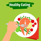 Healthy eating illustration with fish. Healthy eating vector illustration with plate and fish Stock Photo
