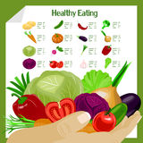Healthy eating infographic with vegetables. Royalty Free Stock Photo