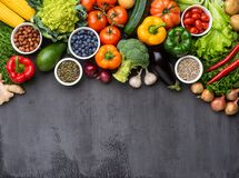 Free Healthy Eating Ingredients: Fresh Vegetables, Fruits And Superfood. Nutrition, Diet, Vegan Food Concept Stock Images - 180081244