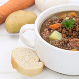Healthy eating lentil soup stew with lentils closeup Royalty Free Stock Image