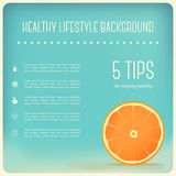 Healthy Eating and Lifestyle Background with Orange Slice Royalty Free Stock Image