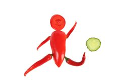 Healthy eating. Little funny football player Royalty Free Stock Photography