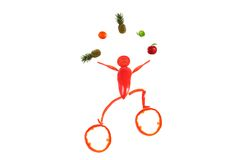 Healthy eating. Little funny juggler made ??of pepper. Royalty Free Stock Photography