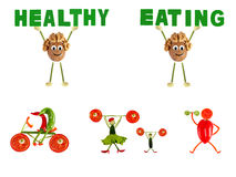 Healthy eating. Little funny people made of vegetables and fruit Stock Image