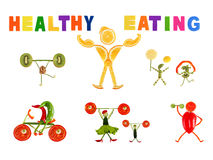 Healthy eating. Little funny people made of vegetables and fruit Stock Images