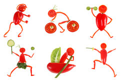 Healthy eating. Little funny people made of vegetables and fruit Stock Photo