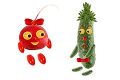 Healthy eating. Little funny people made of vegetables and fruit Royalty Free Stock Images
