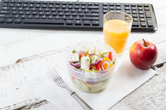 Healthy eating for lunch to work. Food in the office Royalty Free Stock Photo