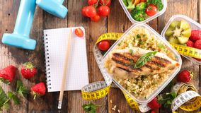 Lunch box. Healthy eating for lunch on wood Royalty Free Stock Photo