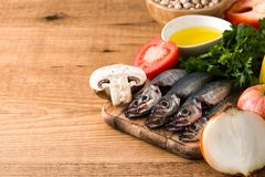 Healthy eating. Mediterranean diet. Fruit,vegetables, grain, nuts olive oil and fish stock images