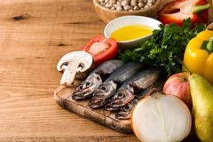 Healthy eating. Mediterranean diet. Fruit,vegetables, grain, nuts olive oil and fish royalty free stock photography