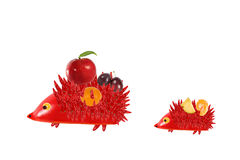 Healthy eating. Mother hedgehog with baby made  made from frui Royalty Free Stock Images