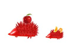 Healthy eating. Mother hedgehog with baby made of pepper. Royalty Free Stock Photo