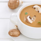 Healthy eating mushroom soup meal with mushrooms in bowl Royalty Free Stock Photo