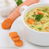 Healthy eating noodle soup in cup with noodles closeup Royalty Free Stock Images