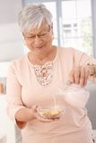 Healthy eating in old age stock photo