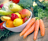 Healthy eating - organic food (fruits and vegetables) stock photos