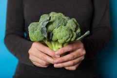 Healthy eating people, green broccoli plant.  royalty free stock photo