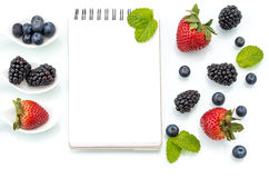 Healthy eating plan, Dieting, berry, Notebook Stock Image