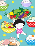 Healthy Eating Plates Character illustration Stock Images