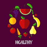 Healthy eating poster with fruits and vegetabkes Royalty Free Stock Photos