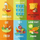 Healthy eating poster set Stock Image