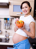 Healthy eating of pregnant woman Stock Image