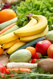Healthy eating, proper diet - fresh organic fruits and vegetables Stock Images