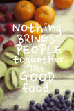 Healthy eating quote Stock Image