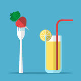 Healthy eating, radish, juice. Red radish on white standing fork and glass of juice with orange slice and coctail straw on blue background. Healthy eating and Royalty Free Stock Images