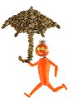 Healthy eating.  Running funny little man made from fruits and v Stock Photo