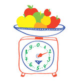 Healthy eating - scales with apples Stock Image