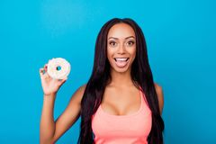 Healthy eating, summer, weightloss, healthcare, bodycare lifestyle. Close up portrait of attractive afro brunette lady holding stock photography