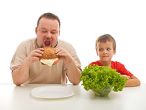 Healthy eating - teaching by example royalty free stock images