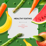 Healthy eating template with fruits and vegetables stock illustration