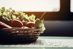 Healthy eating and traditional bakery concept. Healthy eating and traditional breakfast concept; fresh salad on the kitchen table with beverage at morning stock photo