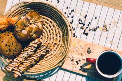Healthy eating and traditional breakfast concept;. Top view of healthy eating and traditional bakery concept; fresh bread on the kitchen table with beverage at stock photo