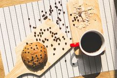 Healthy eating and traditional breakfast concept;. Top view of healthy eating and traditional bakery concept; fresh bread on the kitchen table with beverage at stock photos