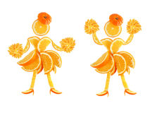 Healthy eating. Two funny little women made of the orange slices Royalty Free Stock Images