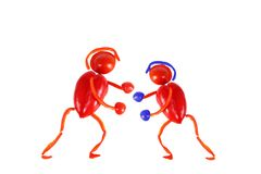 Healthy eating.Two little funny boxers made of pepper. Royalty Free Stock Images