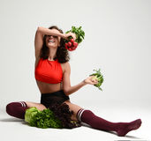 Healthy eating vegetarian food concept. Dieting. Woman hold bunc Stock Images