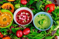 Healthy eating or vegetarian food of colorful vegetables cream soups and ingredients for soup. Healthy eating or vegetarian food of multi colored soups stock photography