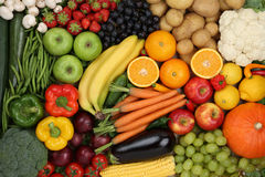 Healthy eating vegetarian fruits and vegetables background royalty free stock photo