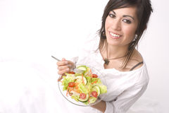 Healthy Eating Woman Eat Health Fresh Green Salad Royalty Free Stock Image
