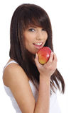 Healthy Eating Woman. Healthy Eating. Woman holding red apple Royalty Free Stock Photography