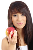 Healthy Eating Woman. Healthy Eating. Woman holding red apple Stock Photos
