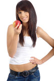 Healthy Eating Woman. Healthy Eating. Woman holding red apple Royalty Free Stock Photos