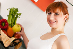 Healthy eating - woman with apple Stock Image