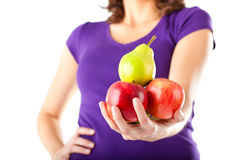 Healthy eating - woman with apples and pear Stock Photos