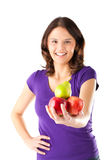 Healthy eating - woman with apples and pear. Healthy eating, happy woman with apples and pear royalty free stock photo